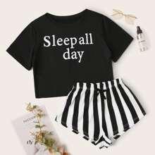 Conjunto de pijama con estampado de letra y rayas