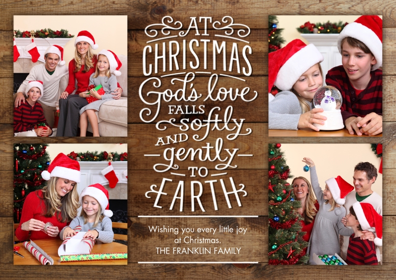 Christmas Photo Cards 5x7 Cards, Premium Cardstock 120lb with Elegant Corners, Card & Stationery -God's Love at Christmas Rustic Collage by Hallmark
