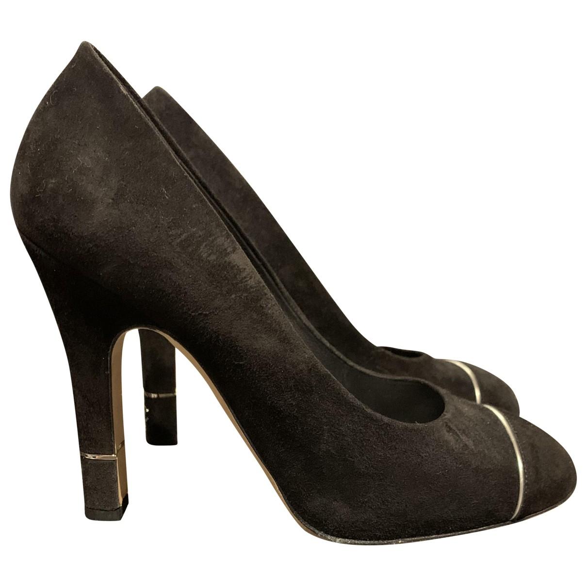 Chanel \N Black Suede Heels for Women 38.5 EU