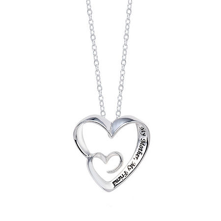 Footnotes Sterling Silver 18 Inch Cable Heart Pendant Necklace, One Size , No Color Family