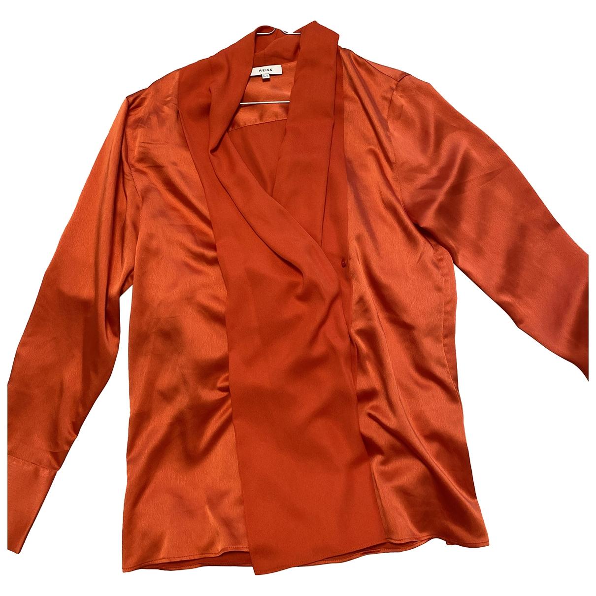 Reiss - Top   pour femme en soie - orange
