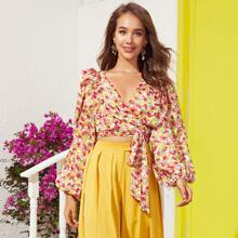 Lantern Sleeve Ruffle Detail Wrap Belted Floral Top
