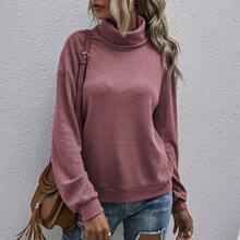 High Neck Drop Shoulder Sweatshirt