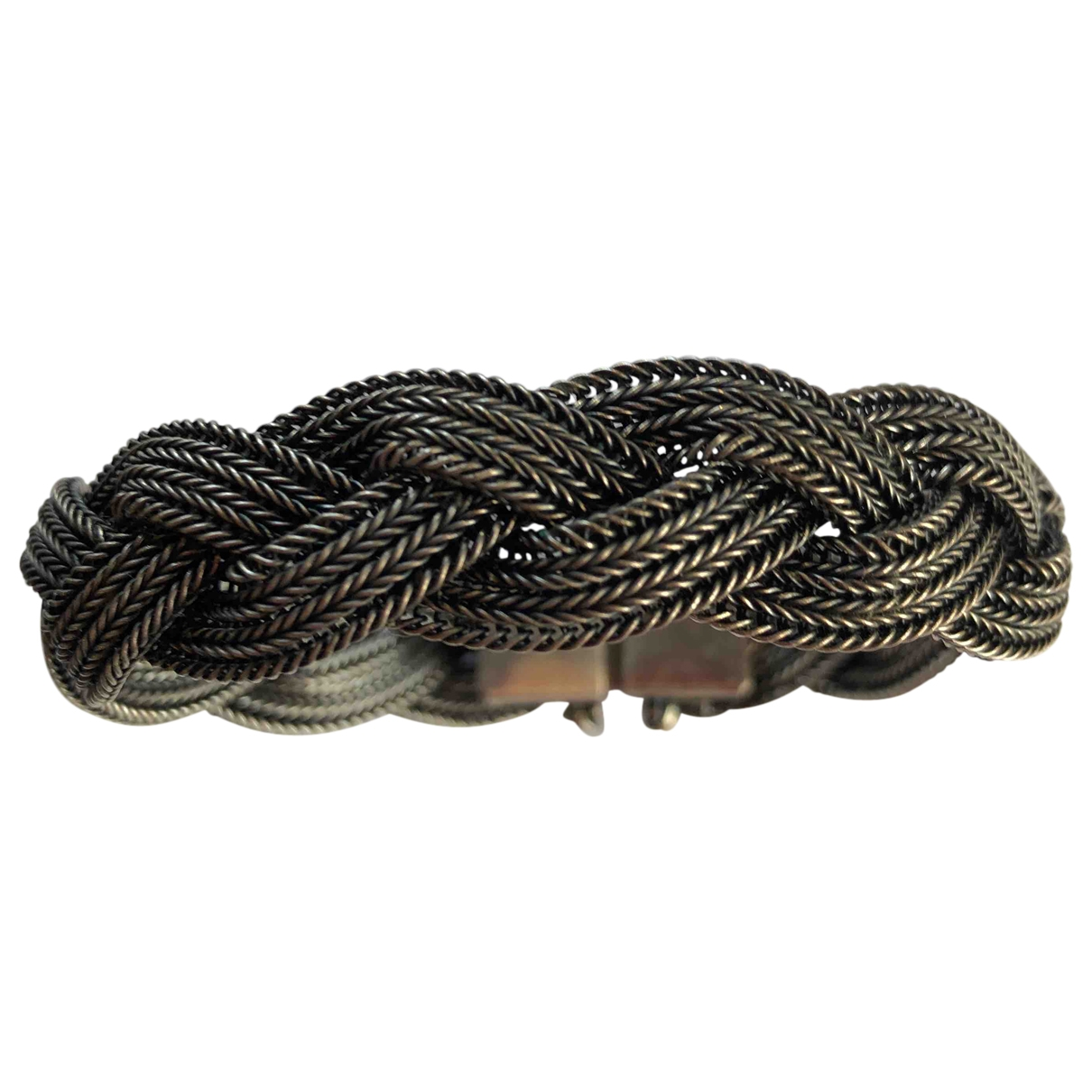 Non Signe / Unsigned Gourmette Armband in  Schwarz Metall
