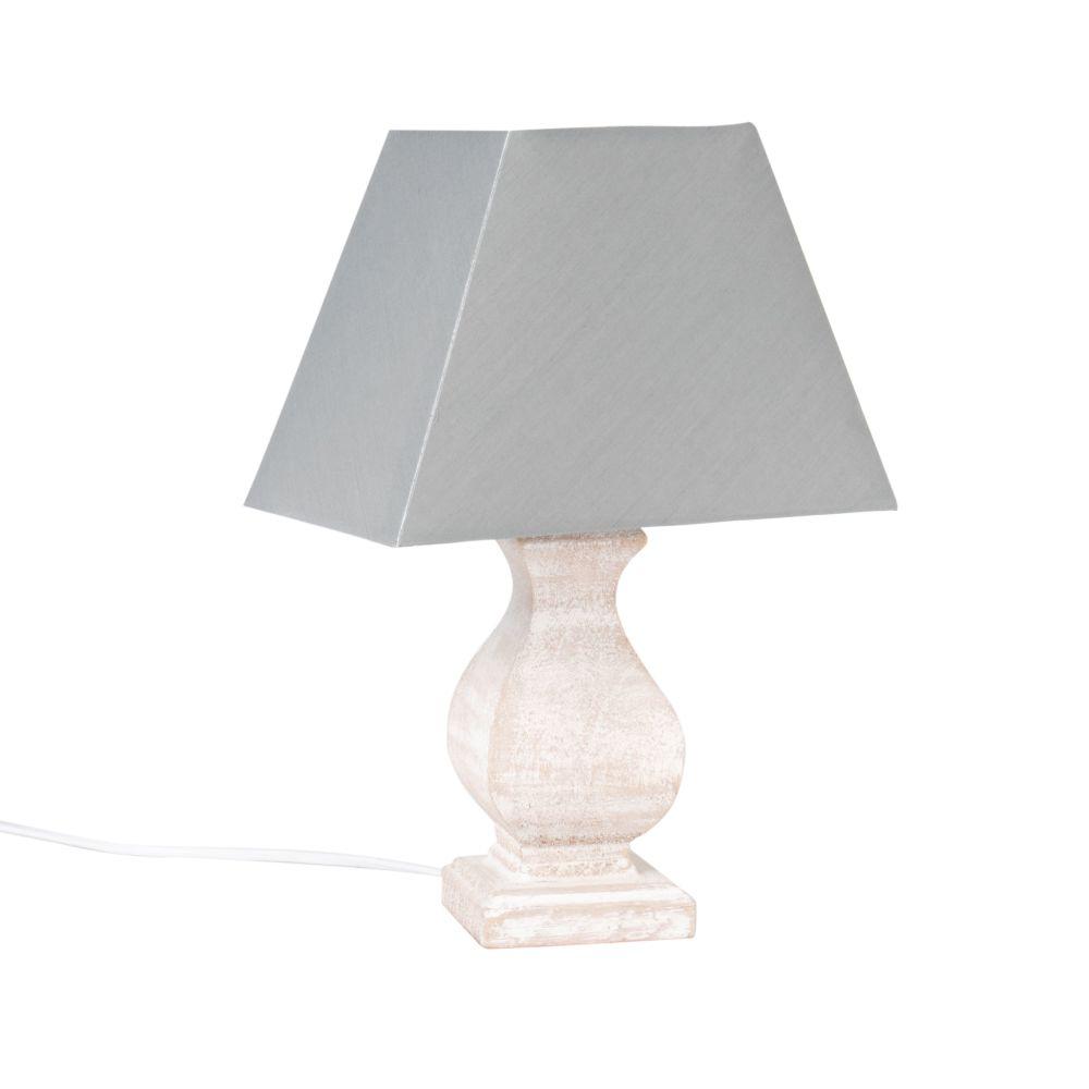 Lampe mit Gestell aus Paulownienholz und blaugrauem Lampenschirm