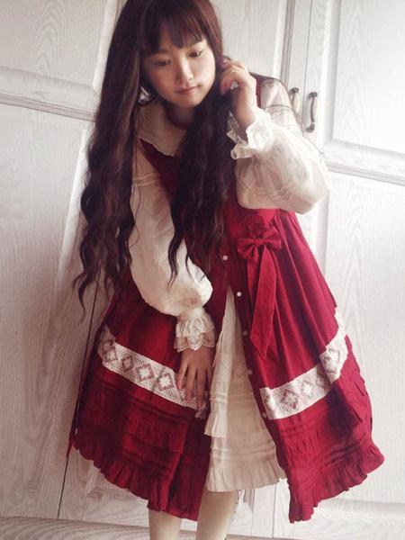 Milanoo Sweet Lolita Cover Ups V Neck Sleeveless Lace Ruffles White Lolita Cover Up
