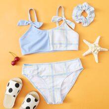 Bikini Badeanzug mit Karo Muster, Knoten Detail & Haarband