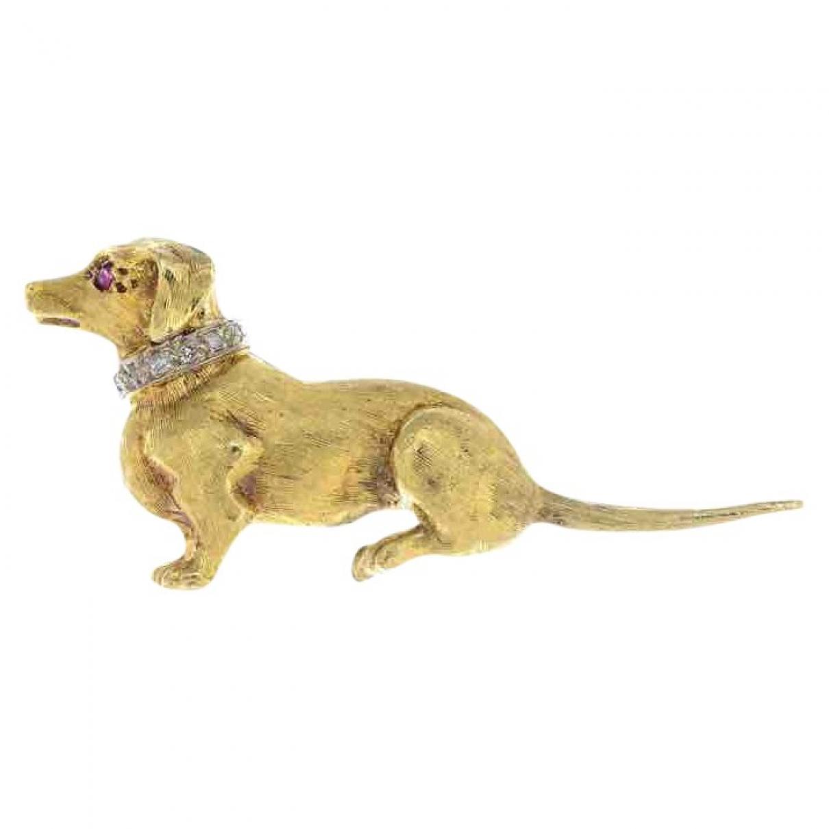 Non Signe / Unsigned Motifs Animaliers Brosche in  Gelb Gelbgold