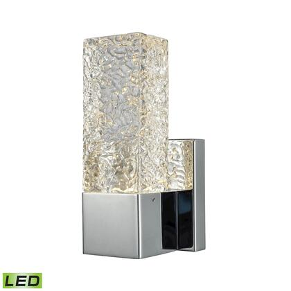 85105/LED Cubic Ice 1 Light Sconce in Polished Chrome with Solid Textured