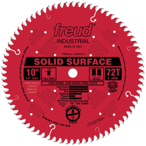 LU95R010 Circular Saw Solid Surface Saw Blade 10
