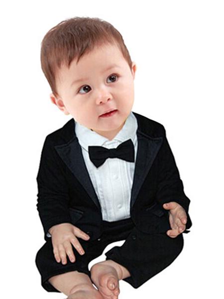 Milanoo Trajes del portador del anillo Camisa de manga larga de algodon de poliester Abrigo Trajes de boda negros para niño
