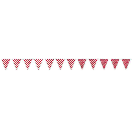 Ruby Red Polka Dot Party Decor Pennant Flag Banner, 12ft