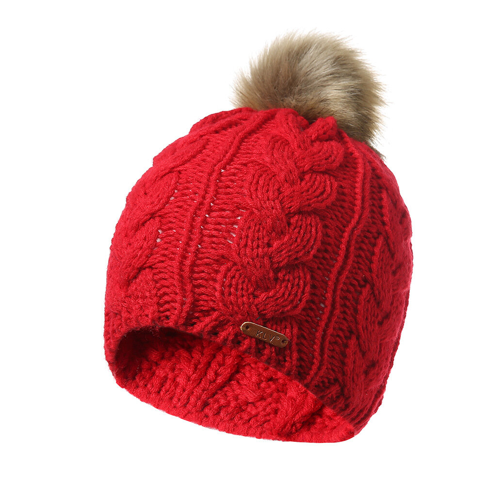 Womens Winter Solid Color Knitted Cotton Fur Ball Beanie Cap Earmuffs Warm Outdoor Casual Hats