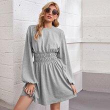 Crinkle Waist Lantern Sleeve Dress