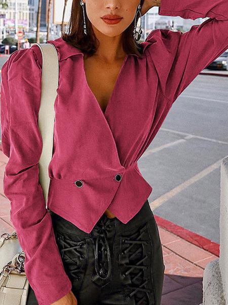 Milanoo Blazer para mujer Botones de cuello en V elegantes Mangas largas Chaqueta de poliester rosa en capas de lunares