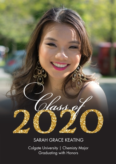 2020 Graduation Announcements 5x7 Cards, Premium Cardstock 120lb with Elegant Corners, Card & Stationery -2020 Grad Gold Glitter by Tumbalina