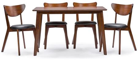 RT331-TBL-CHR Baxton Studio Sumner Mid-Century Style Walnut Brown  5-Piece Dining