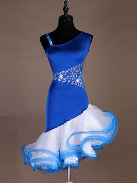 Milanoo Disfraz Halloween Vestidos de baile latino Vestido de organza de las mujeres azul real Rizo con tachuelas Bailarin latino Traje de baile Hallo