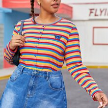 Plus Rainbow Striped & Butterfly Patched Tee