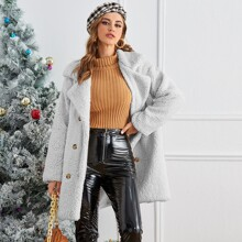 Solid Double Breasted Teddy Coat