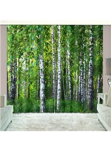Grass and Green Woods Natural Drapes Print Curtain