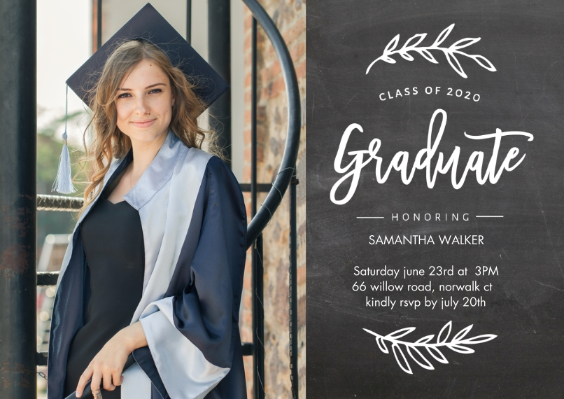 2020 Graduation Invitations 5x7 Cards, Premium Cardstock 120lb with Scalloped Corners, Card & Stationery -2020 Grad Foliage by Tumbalina
