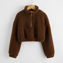 Girls Drop Shoulder Teddy Zip Half Placket Sweatshirt
