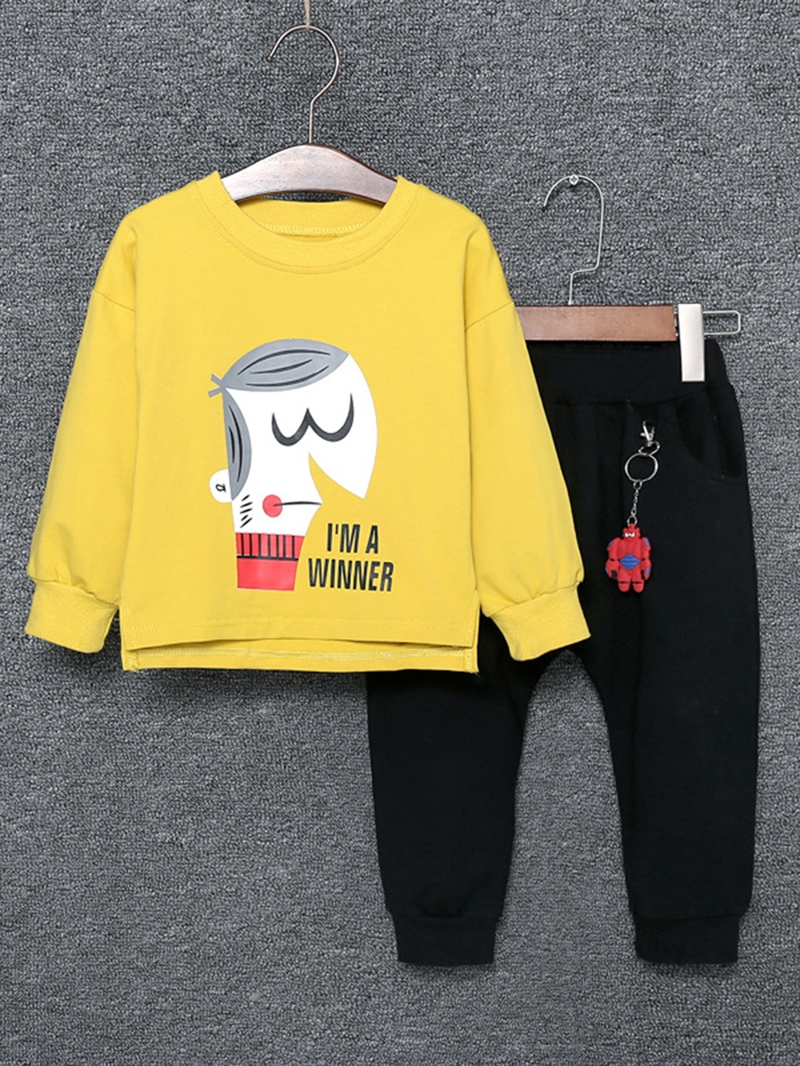 Ericdress Long Sleeve Letter Pattern Hoodie And Pant 2-Pcs Baby Boys Outfit