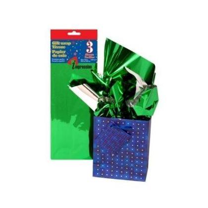 Feuille de papier de soie vert métallisé 20