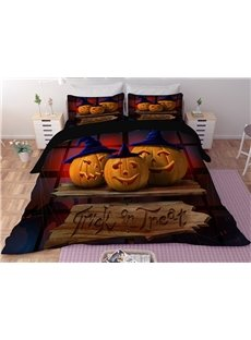 Pumpkin Smiley Face Halloween Digital Printing 3D Polyester 3-Piece Bedding Sets/Duvet Covers
