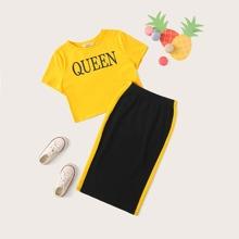 Conjunto de niñas top con estampado de letra con falda de lado de rayas