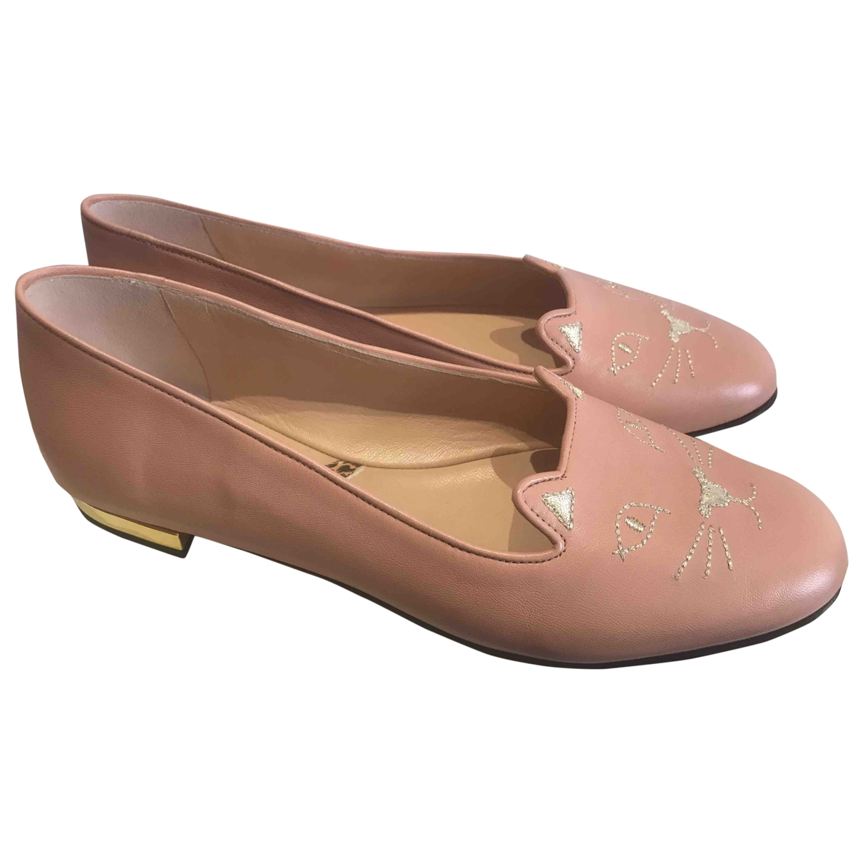Charlotte Olympia Kitty Pink Leather Ballet flats for Women 37.5 EU