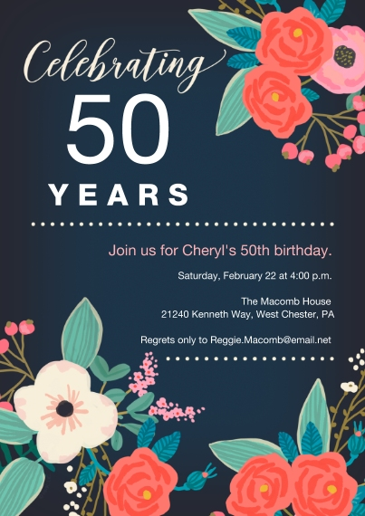 Birthday Party Invites Flat Matte Photo Paper Cards with Envelopes, 5x7, Card & Stationery -Tropical Blooms Milestone Birthday Invitation by Hallmark