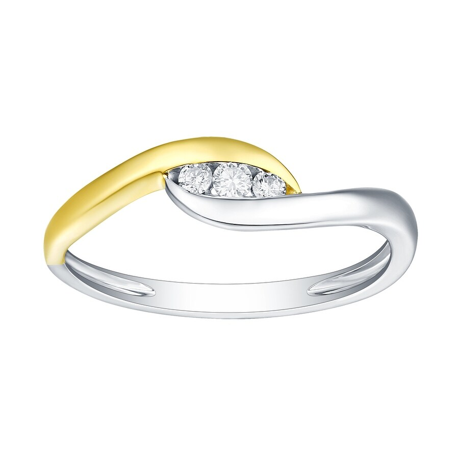 Prism Jewel 1/10 Ctw White Diamond 3-Stone Wedding Ring, (G-H/I1) (9.5 - Rose - 10k)