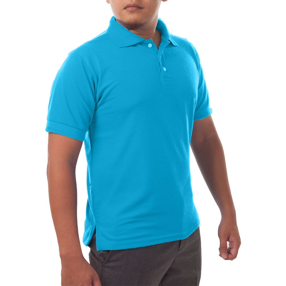 Page & Tuttle Solid Jersey Short Sleeve Polo Golf Shirt Blue- Mens- Size M
