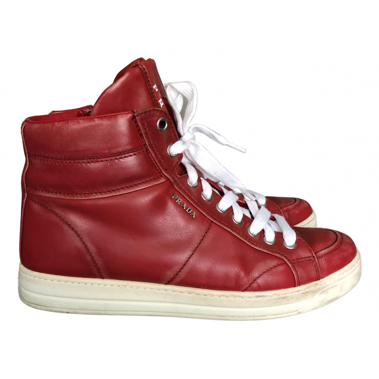 Prada \N Red Leather Trainers for Women 39 IT
