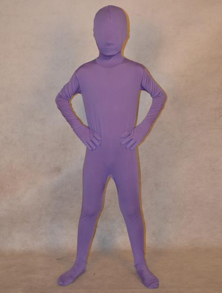 Milanoo Halloween Lavender Zentai Suit Lycra Spandex Full bodysuit for Kids Halloween