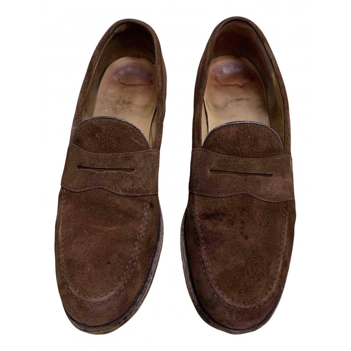 Loake - Mocassins   pour homme en suede - marron