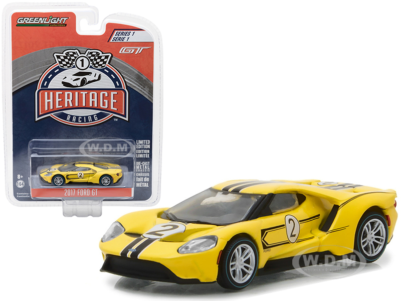 2017 Ford GT Yellow 2 - Tribute to 1967 Ford GT40 MK IV 2 Racing Heritage Series 1 1/64 Diecast Model Car by Greenlight