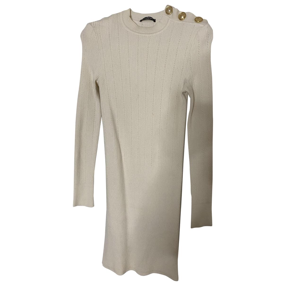 Balmain \N Kleid in  Weiss Wolle