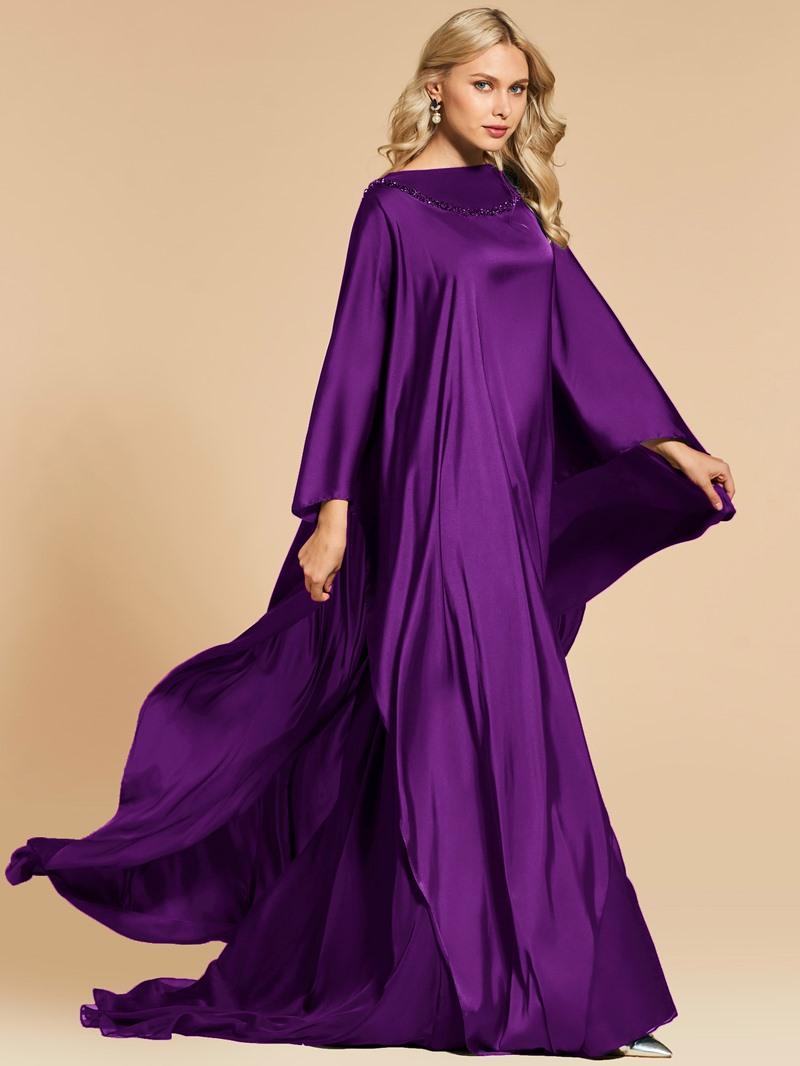 Ericdress A Line Beaded Bateau Neck Long Sleeve Evening Dress