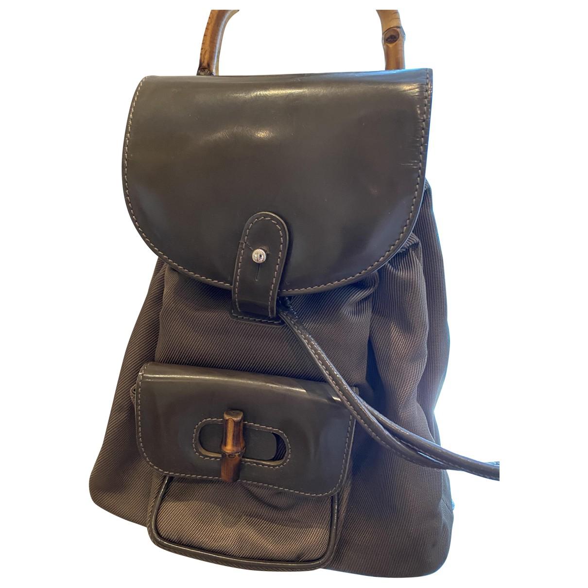 Gucci Bamboo Khaki Cloth backpack for Women N