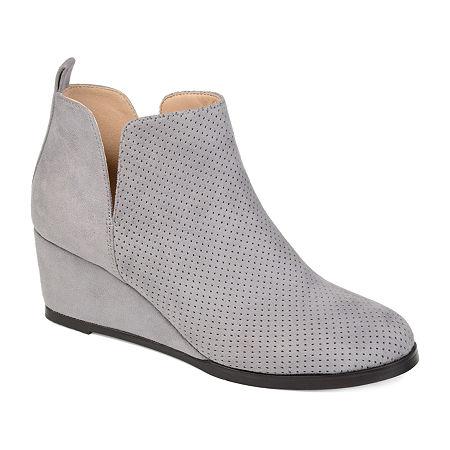 Journee Collection Womens Mylee Booties Wedge Heel, 6 1/2 Medium, Gray