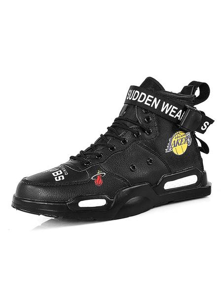 Milanoo Men\s Sneakers Cozy Canvas Monk Strap Round Toe High Top Men\s Shoes