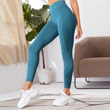 Einfarbige Sports Leggings mit breitem Taillenband