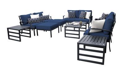 Lexington LEXINGTON-12h-NAVY 12-Piece Aluminum Patio Set 12h with 2 Left Arm Chair  2 Right Arm Chair  2 Club Chairs  1 Armless Chair  2 Ottomans  2