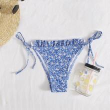 Bragas bikini con cordon lateral con fruncido floral de maragrita