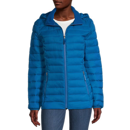 St. John's Bay Hooded Packable Lightweight Puffer Jacket, Petite Large , Blue