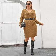 Plus V-neck Belted Drop Shoulder Sweater Dress