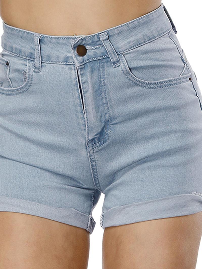 Ericdress Plain Denim Mid-Waist Women's Shorts